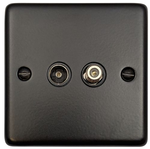 G&H CFB38B Standard Plate Matt Black 1 Gang TV Coax & Satellite Socket Point